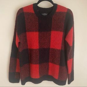 Lucky Brand Buffalo plaid red and black sweater, M
